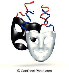 réaliste, comédie, masques tragédie