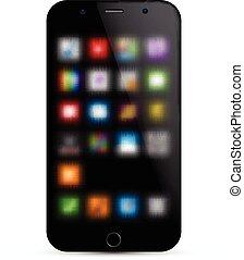 réaliste, concept., smartphone