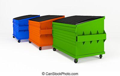 réaliste, déchets ménagers, boxes., coloré