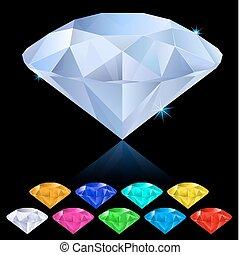 réaliste, différent, couleurs, diamants