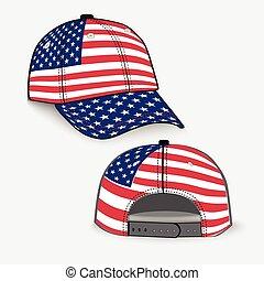 réaliste, drapeau, casquette, base-ball, usa