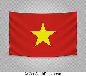 réaliste, drapeau, pendre