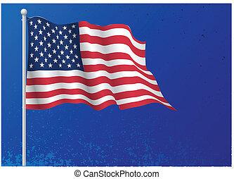 réaliste, drapeau, usa