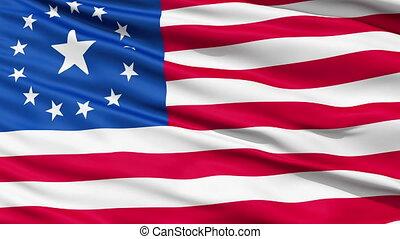 réaliste, drapeau, vent, retombées