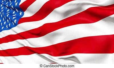 réaliste, drapeau, vent, usa