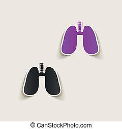 réaliste, element:, conception, monde médical, poumon