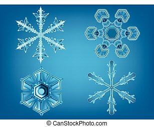 réaliste, ensemble, flocons neige, hiver