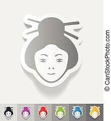 réaliste, femme, conception, japonaise, element.