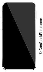 réaliste, fond, écran, noir, couleur, mobile, vide, mockup, téléphone, blanc, vecteur, isolé, smartphone