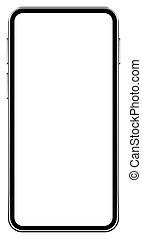 réaliste, fond, écran, noir, couleur, mobile, vide, mockup, téléphone, blanc, vecteur, smartphone