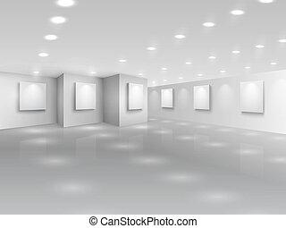 réaliste, galerie, salle, à, vide, blanc, canevas