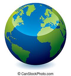 réaliste, globe, la terre
