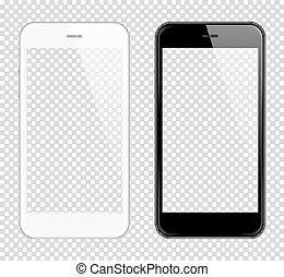 réaliste, haut, téléphone, vecteur, intelligent, railler