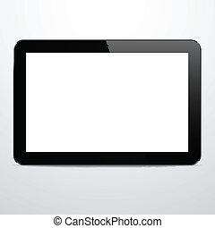 réaliste, horizontal, noir, tablette, pc.