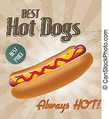 réaliste, hot-dog, illustration