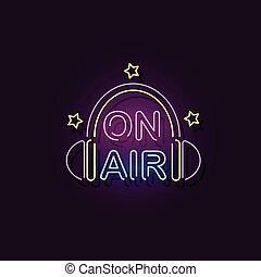 réaliste, icône, émission, radio, écouteurs, néon, -, signe, studio, air