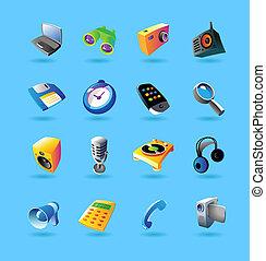 réaliste, icônes, ensemble, pour, appareils