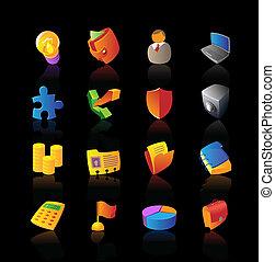 réaliste, icônes, ensemble, pour, business