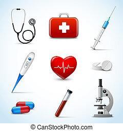 réaliste, icônes médicales