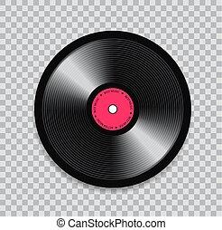 réaliste, illustration, arrière-plan., noir, vinyle, transparent, enregistrement