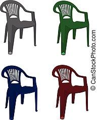 réaliste, illustration, chaise, vecteur, plastique, isolé