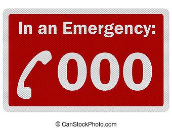 réaliste, isolé, 'emergency, 000', signe, photo, blanc