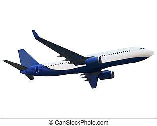 réaliste, isolé, illustration, arrière-plan., vecteur, blanc, avion modèle, 3d