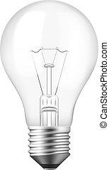 réaliste, lumière, isolé, ampoule