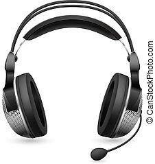 réaliste, microphone, informatique, casque à écouteurs