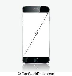 réaliste, mobile, écran, isolé, téléphone, noir, arrière-plan., vide, blanc
