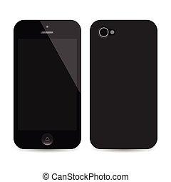 réaliste, mobile, écran, isolé, téléphone, vecteur, vide, brin