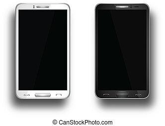 réaliste, mobile, écran, vide, isolé, téléphone, vecteur, blanc