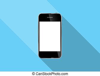 réaliste, mobile, résumé, illustration, téléphone, vecteur, conception