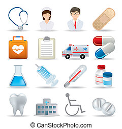 réaliste, monde médical, ensemble, icônes