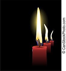 réaliste, noël bougies