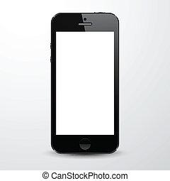 réaliste, noir, smartphone.