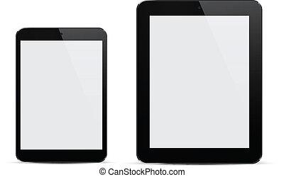 réaliste, noir, tablets.