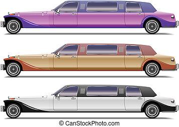 réaliste, old-styled, ensemble, limousines, vecteur