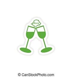 réaliste, papier, verre vin, icône, conception, autocollant