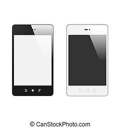 réaliste, réflexion., set., screen., illustration, isolé, téléphone, vecteur, arrière-plan., vide, blanc, intelligent