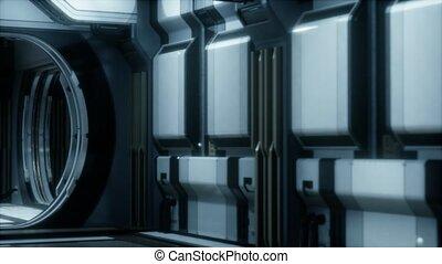 réaliste, rendre, couloir, 3d, vaisseau spatial, sci-fi