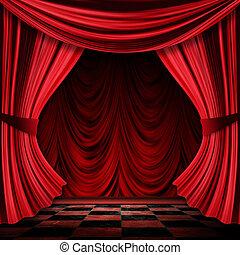réaliste, rideaux rouges