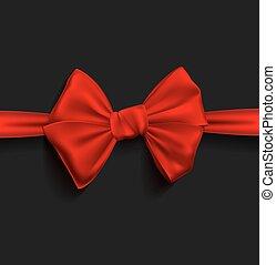 réaliste, ruban, arc rouge