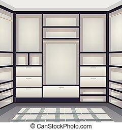 réaliste, salle, vide, stockage