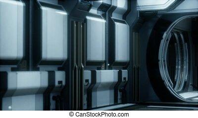 réaliste, sci-fi, rendre, vaisseau spatial, couloir, 3d