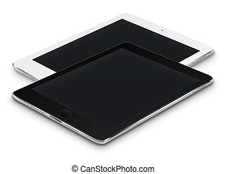 réaliste, screens., noir, tablette, ordinateurs