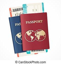 réaliste, set., vecteur, passeport, international