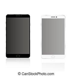 réaliste, smartphone, haut, railler