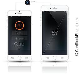réaliste, smartphone, mockup