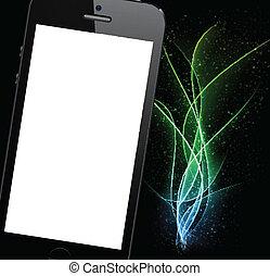 réaliste, smartphone, noir, arrière-plan.